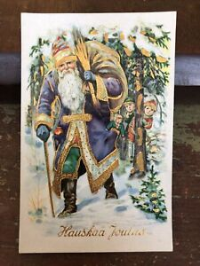 True Vintage Old World Santa Xmas Postcard Purple Coat Green Pant Naughty Switch