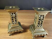"""Pair of Vintage English Bronze Candlestick Holders appx 5"""" tall square design"""