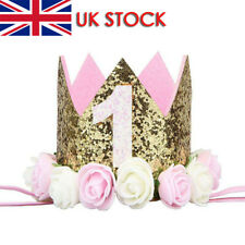 Baby Girl First Birthday Party Hat Head Hand Flower Princess Crown Decor Hat Cap