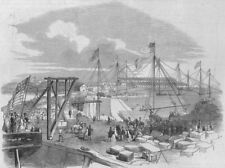 NEW YORK. The dry dock works, United States Navy-yard, New York, old print, 1849