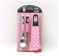 Disney Minnie Mouse Spoon Chopsticks Case Set Kids Cutlery Utensils