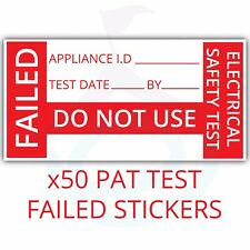 50x PAT Testing Fail Labels/Stickers Failed Strong Polypropylene Non Rip 38x19mm