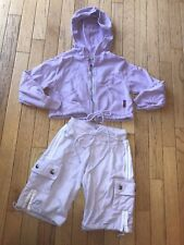 Hard Tail Forever Purple 2 Pc Hoodie Cropped Capri Sweatpants Sweatsuit XXS 4-5