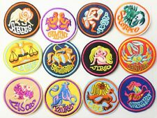 Retro Astrology Zodiac Sign Horoscope Birthday Gift Sew-On Patch Embroidered