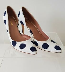 Marcs Size 8 Ivory Polka Dot Textile Leather d'Orsay High Heel Pointed Toe Pumps