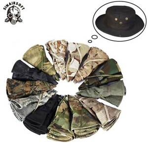 Tactical Boonie Bucket Hat Millitary Army Camo Hiking Hats Airsoft Wide Brim Cap