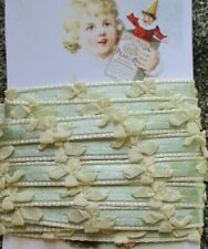 """3 Yd x 3/8"""" Vintage Green ivory flower Ribbon~ new/old stock"""
