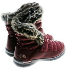 The North Face Women's ThermoBall Microbaffle Boots II W/Faux Fur; Garnet Red 6M