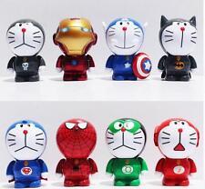 8 Pcs Doraemon Action Figure Cosplay Avengers Iron Man Superheroes Marvel Toy