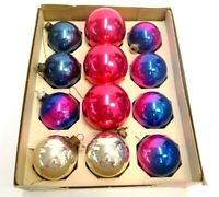 LOT OF 12 VINTAGE CHRISTMAS TREE GLASS BALL ORNAMENTS RED PINK BLUE SILVER CHIC