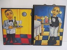 """Vintage Will Rafuse Decoupage """"Emile"""" & """"Carlito"""" Print Wall Plaques"""