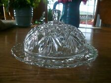 VINTAGE EARLY AMERICAN PRESCUT  ROUND COVERED BUTTER DISH  PINEAPPLE DESIGN