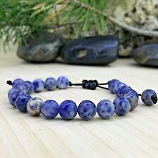 Bracelet tressé  Perles Naturelles  Sodalite  - Tibétain - Lithothérapie