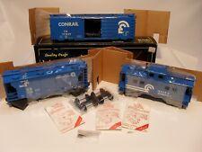 WEAVER 2 RAIL ULTRA LINE CONRAIL SET CABOOSE,HOPPER & BOX CAR, NEW IN BOXS UNRUN