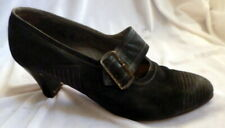 Original Vintage 1920s Black Suede & Leather Heals Shoes Size 8