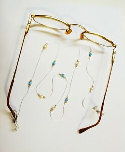 EYEGLASS HOLDER Jewelry Sterling Silver 925 Chain, Light Blue Opal Beads, Pearls