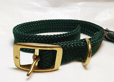 Double Braided Nylon Dog Collar with Brass Buckle, Hunter Green 21in. long