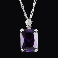 Xmas Pendant Rectangle Purple Amethyst 18K White Gold Plated CZ Necklace Chain