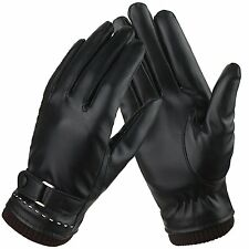 Womens Touchscreen Texting Driving Winter Warm Leather Gloves, Fleece Lining