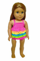 Rainbow Swimsuit for American Girl Dolls 18 Inch Doll Clothes