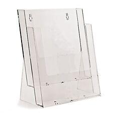2 x A4 2 BAY / TIER LEAFLET HOLDER DISPENSER SHOP DISPLAY STANDS - BPS2C230