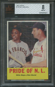 1963 Topps #138 Pride of the NL Mays/Musial BVG 8 08563622