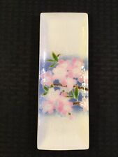 Vintage Tutanka Cloisonne 9 1/4� X 3 3/8� Rectangle Tray With Pink Flowers