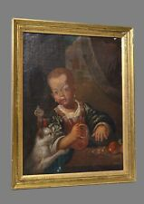 Antique 16-17CC Oil Canvas Portrait of Playing Child with Her Cat