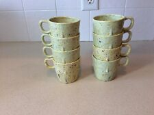 8 PROLON WARE FLORENCE MASS. MULTI GREEN CONFETTI SPATTER CUPS STACKING MUGS