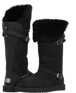 UGG AUSTRALIA CIERA BLACK SHEEPSKIN BOOTS UK 7.5  RRP £255 BRAND NEW BOXED
