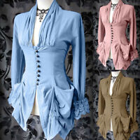 Medieval Women Steampunk V Neck Long Sleeve Solid Color Retro Top Shirt Costume