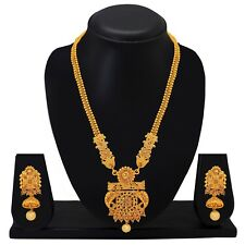 New Indian Ethnic Wedding Jewelry Set Gold Tone Long Necklace Earrings Statement