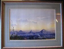 Herman Pekel original Watercolor titled 'The Glasshouse Mountains'. Australia