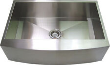 "33"" Stainless Steel Farm Sink Curved Front Single Bowl with Free Gift"