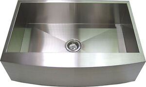 """33"""" Stainless Steel Farm Sink Curved Front Single Bowl with Free Gift"""