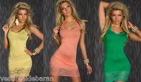Miniabito Vestitino Donna Vestito Abito QOC B871 Rosso Verde Giallo Tg Unica S/M