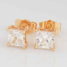 Yellow Gold Plated Clear Square Crystal clear crystal cute small Stud Earrings