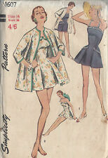 1956 Vintage Näh Muster Brustumfang 91cm Mantel & Baden Anzug (1046)