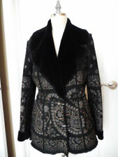 Exquisite GIULIANA TESO SUEDE & FUR COAT Black LEATHER & SHEARLING IT 44 US 10