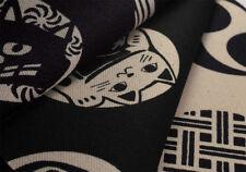 Japanese 100% Heavy Cotton Fabric Family Crest Kamon Excellent 300g/m2 Black V2