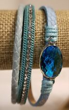 Shades of Blue Crystal Accented Magnetic Clasp Stacking Bracelet