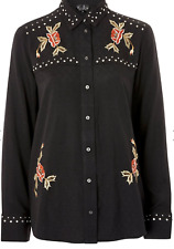 New Top Shop Black Rodeo Studded Embroidered Shirt Cowgirl RRP £39 Now £14.99