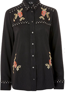 Top Shop Womens Black Rodeo Studded Embroidered Shirt Cowgirl Western Ladies