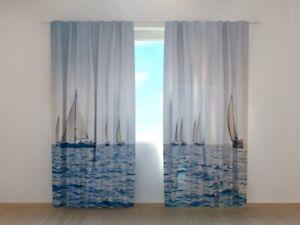 Fotogardine Meer und Segelboote, Vorhang mit Motiv, Fotodruck, Gardine auf Maß