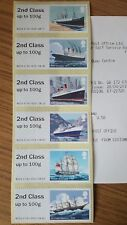 GB 2018 POST & GO ERROR MAIL BY SEA 2ND CLASS TEXT ON 1ST STRIPS ALL 6 DESIGNS