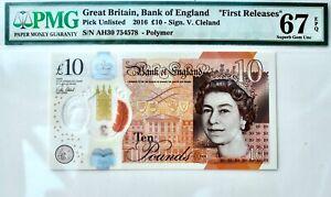 2016 England £10 Pound Note PMG 67 EPQ Ten Bill UK Britain Superb Gem Unc