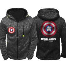 Captain America Hoodie Warm Jacket Sports Sweatshirt Full-Zip Coat Spring hooded