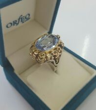 ANTIK Ring Silber 835/Gold 585 blauem Spinell