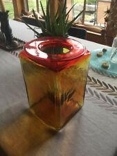 Rare Square Blenko Amberina Glass Vase