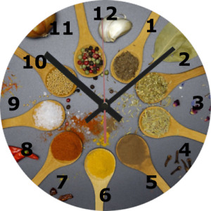 WALL CLOCK FOOD DRINK 25cm Kitchen Herbs Spices Cooking Home Decor 1021